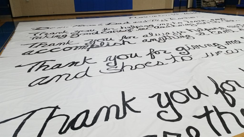 Close up of World's Largest Thank You Letter