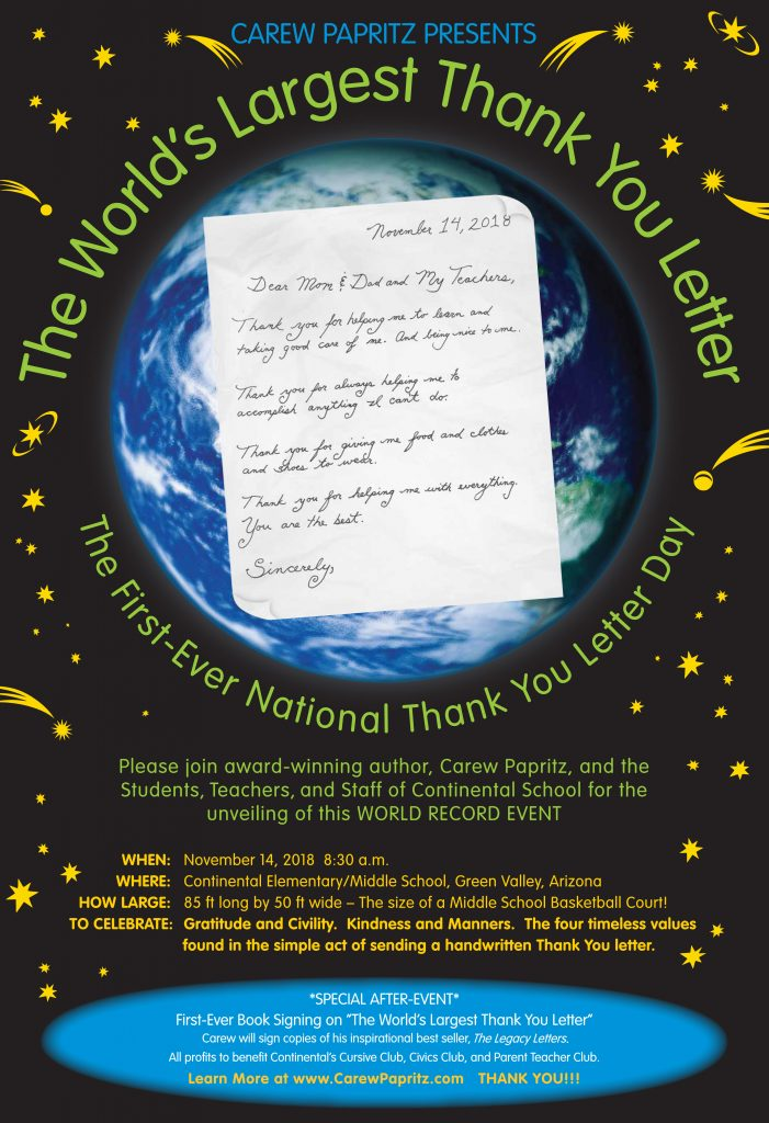 Poster from World's Largest Thank You Letter & First-Ever National Thank You Letter Day